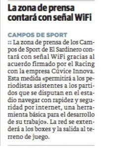 La zona de prensa del Racong contará con señal WiFi